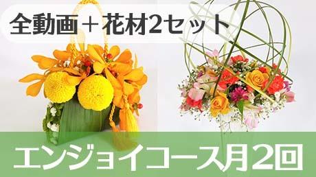 【初心者向け】動画視聴に加えて毎月2回のアレンジメントのお花が届く