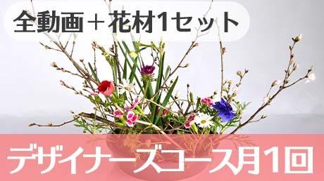 【中・上級者向け】動画視聴に加えて毎月1回のアレンジメントのお花が届く
